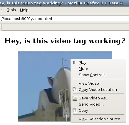 Firefox Video Tag