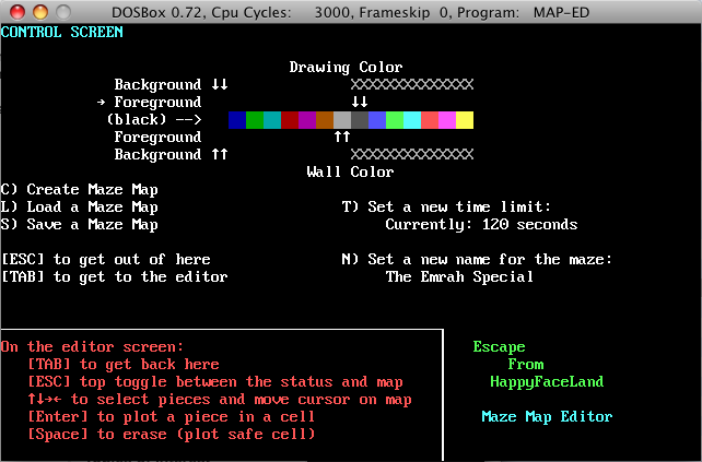 Escape From HappyFaceLand Map Editor -- command mode