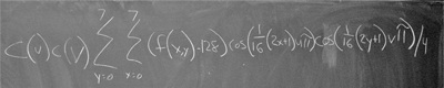 Discrete cosine transform written out on a chalkboard