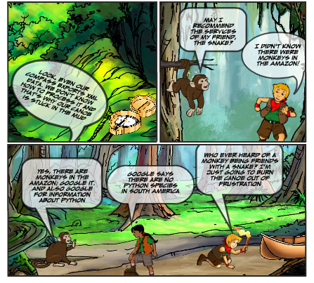 Amazon Raiders: XML Monkey, bottom panels
