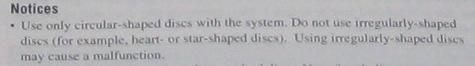 Sony PlayStation 3 manual -- disc shape notice