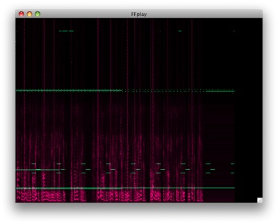 FFplay's spectrum analyzer playing a WMA Voice file